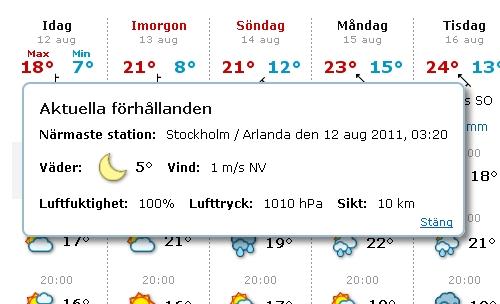 2011/08/12 - Wetter Stockholm Arlanda flygplats; 3.20 Uhr.